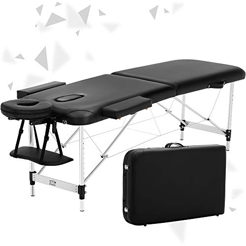 JL Comfurni  Portable Folding Massage Table Tattoo Couch Beauty Salon Therapy Couch Bed with Aluminum Frame [New Release] -Black