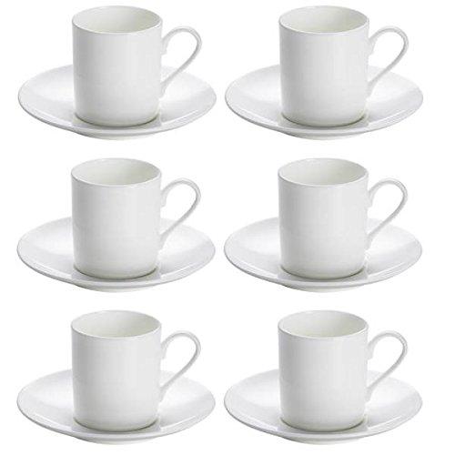Maxwell & Williams 6er Set Espressotassen mit Untertasse Cashmere Round weiß