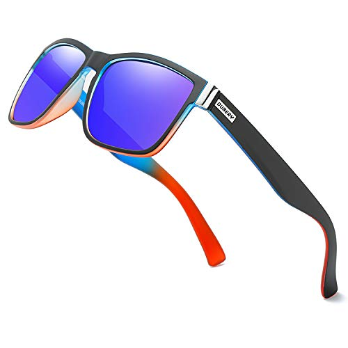 DUBERY Vintage Polarized Sunglasses for Men Women Retro Square Sun Glasses D518 (Blue&Orange/Mazarine)