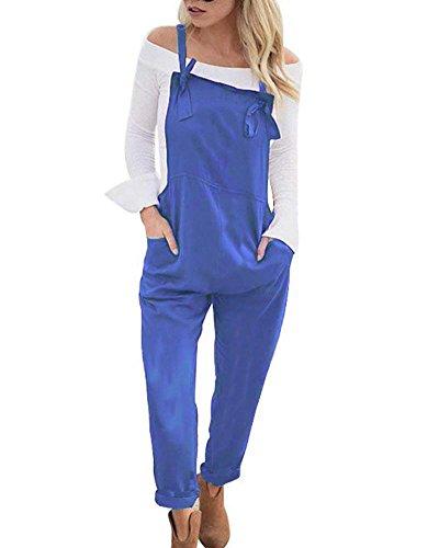 Tomwell Tomwell Lässig Sommer Kurze Hose Jumpsuits mit Taschen Mode Gurt Frühling Insgesamt Jumpsuits Blau DE 34