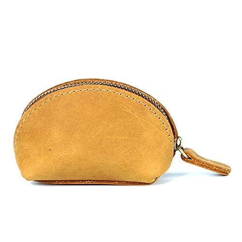 JTRHD Monedero de la Bolsa de Cambio Monedero de Monedas de Cuero Superior, Monedero Retro Shell Unisex Billetera compacta para Damas Mujer (Color : Amarillo, Size : 9x4.5x6cm)