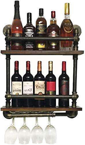 JXXDQ 2 estantes de metal de hierro para colgar botellas de vino de 2 niveles, estilo vintage, creativo, decoración de bar, color negro, 52 x 15 x 60 cm