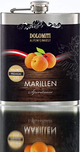 DOLOMITI Marillen Schnaps Flachmann │ Marillen Premium Spirituose 35% vol. │ fruchtiger, angenehm milder Schnaps │ 0.2 Liter