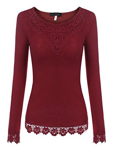 Parabler Damen Elegant Bluse V-Ausschnitt Langarm Shirt Locker Freizeit Langarmbluse Blusenshirt Tunika Oberteil Tops (EU 36(Herstellergröße:S), A Weinrot)