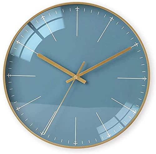 chazuohuaile Co.,ltd Reloj De Pared Reloj De Pared Decorativo De Metal Mute Mute De Bell El Tamaño De 35Cm * 35Cm * 4 5Cm Marco Dorado Simple Reloj De Pared con Gráficos Nórdicos Vidrio