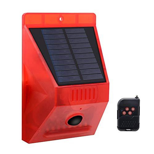 Alarme Solaire de sécurité, Imperméable Lumières solaires stroboscopiques avec détecteur de Mouvement Alarme de sécurité d'urgence LED stroboscopique sans Fil Lampe pour Maison de Ferme Appartement