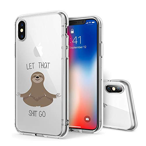 Litech Case for Apple iPhone Xs MAX (2018) [Flexfit] Premium Clear Scratch-Resistant Cute Creative Artistic Design [Wireless Charging Compatible] (Sloth 1)