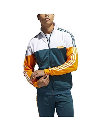 adidas Split Firebird Tracksuit Jacket, Wild Teal/Crew Orange/White, S Men