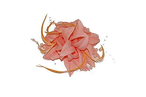 5625 Bibi sur pince orné d'une fleur superposée en tissu, de plumes et de perles - Rose, pêche, crème ou corail - Pour mariage ou courses - rose - Taille unique