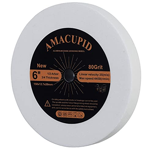AmaCupid 6 inch White Aluminum Oxide Bench Grinding Wheel,1/2 Arbor, 3/4 Thickness,80 Grit.Applied to Grinding of Alloy and High Carbon Steel Metal Toolss
