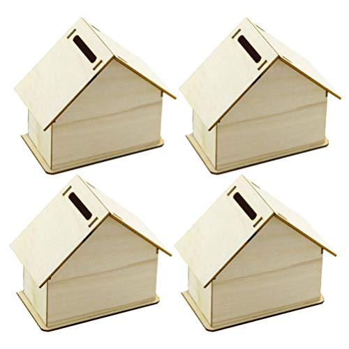 Healifty Mini Unfinished Wooden Birdhouse Crafts to Paint DIY Wooden Birdhouse Kit Miniature Fairy Garden House Coin Bank Home Decor Gifts 4sets