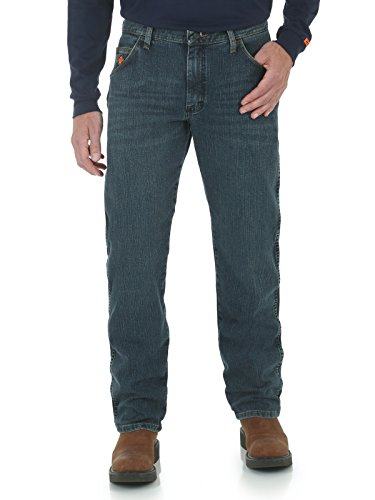 Wrangler Men's Flame Resistant Regular Fit Jean, Dark Tint, 31x36