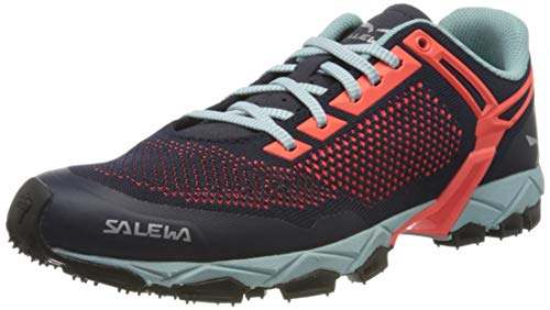 Salewa Damen WS Lite Train Knitted Traillaufschuhe, Premium Navy/Fluo Coral, 38 EU