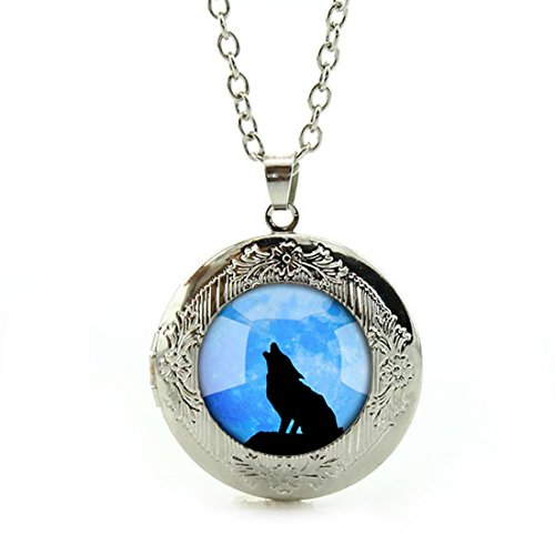 Women's Custom Locket Closure Pendant Necklace Blue Cool Wolf Included Free Silver Chain, Best Gift Set