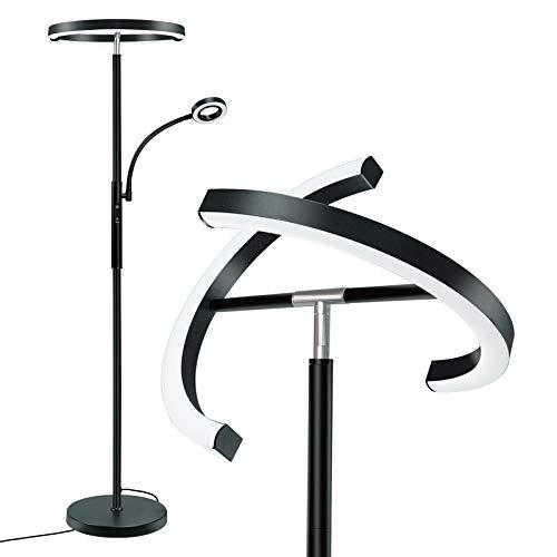 Lampadaire LED avec Liseuse Télécommande & Contrôle Tactile Lumière Principale 2000LM+Lumière Latérale 400LM 3 Températures de Couleur Luminosité Réglable en Continu Lampe à Pied Salon Chambre Bureau