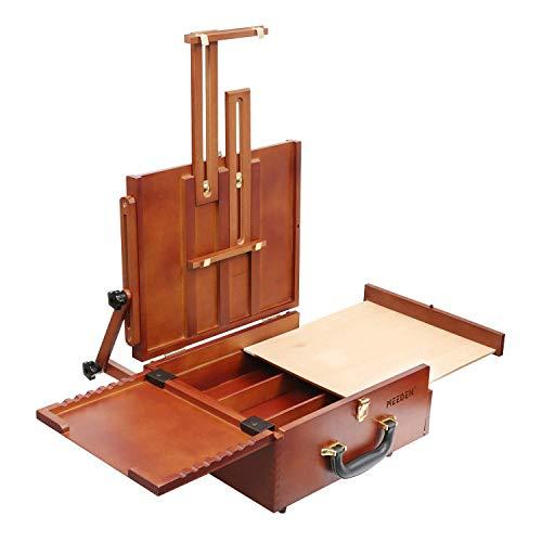 Pochade Box von Meeden – All in On Plein Aire Französische Staffelei mit verstellbaren Winkeln, leicht und tragbar, gebeiztes lackiertes Holz Deluxe Pochade Box
