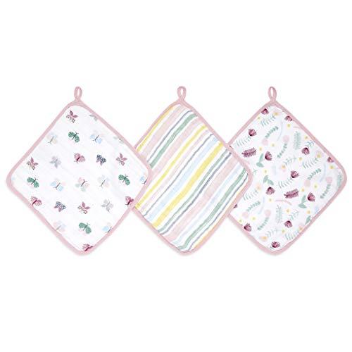 aden + anais™ Essentials - Set de 3 débarbouillettes pour la Toilette en Mousseline 100% Coton - Débarbouillette Chic - Douce - Accrochable - Garçon - Fille - Imprimé Floral Fauna - 30 cm x 30 cm