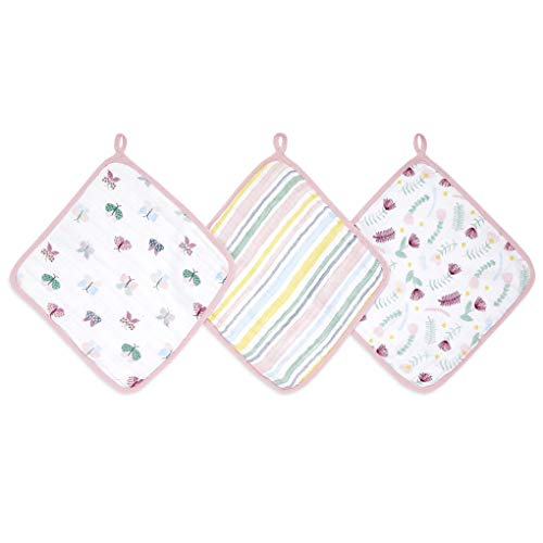 aden by aden + anais Essential Washcloth 100% Muslin Cotton Floral Fauna 3 Unité