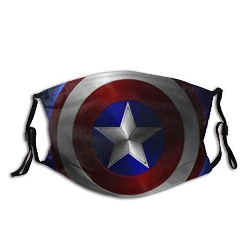 Gesichtsschutz Mundschutz 3D-Druck Cap-Tain America (12) Unisex waschbare und Wiederverwendbare Sturmband Mundbandanas mit 2 Filtern