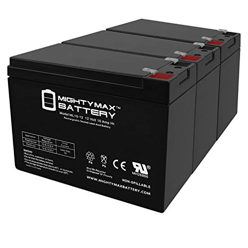 Mighty Max Battery ML10-12 - 12V 10AH 26058 CB10-12 CE5 CE6 MA 2.0 Lawn Mower Battery - 3 Pack Brand Product