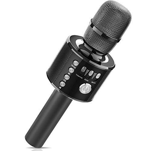 Bluetooth Microfono Karaoke, Xpreen Microfono Bambini Senza Fili Wireless Portatile Macchina da Karaoke per Android iPhone iPad Sony PC Smartphone