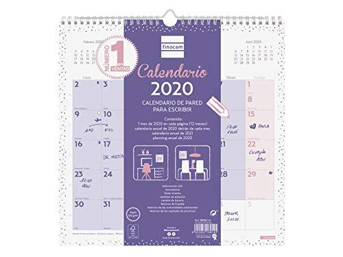 Finocam - Calendario de pared 2020 Escribir Chic Morado español