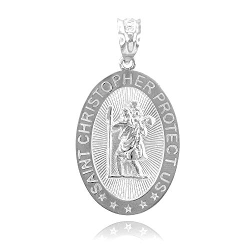 9 ct White Gold St. Christopher Charm Pendant Necklace (Available Chain Length 16'- 18'- 20'- 22') D