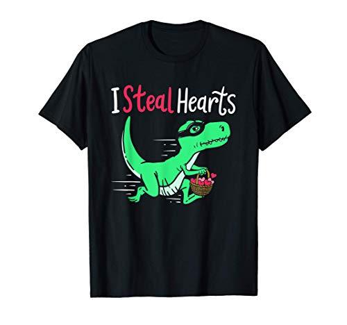 Divertida ropa de San Valentín Regalo de dinosaurio para él Camiseta