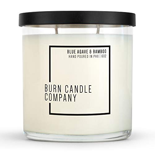 Burn Candle Company   Blue Agave & Bamboo   Natural Soy Candle   Hand Poured in The USA   Long Lasting 70-80 Hour Burn Time   Highly Scented Aromatherapy Candle   Glass Tumbler   10 oz