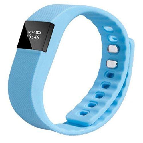 TW64 Smart Handgelenk Band Schlaf Fitness Tracker Pedometer Sport Armband Unterstützung iPhone 4s 5 5c 5s und IOS 6.1or über Android System 4.3 oder höher (Bluetooth 4.0) blau