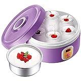 YILIAN Auto Fabricante de Yogur, Incluye 6 tarros de Cristal y Tapas, de Acero Inoxidable de línea, púrpura del hogar Máquina de Natto
