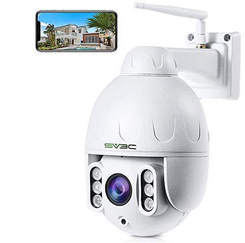 SV3C Telecamera WiFi PTZ HD 5MP, Videocamera di sorveglianza IP Esterno con Zoom 5X, Audio bidirezionale, Visione notturna a 196 piedi, IP66, Rilevazione di movimento, Supporto scheda TF da 128 GB
