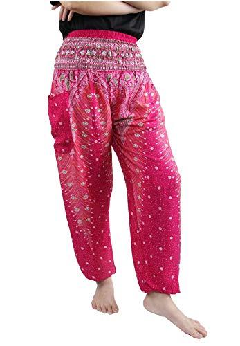 Lofbaz Damen Haremshose mit gesmoktem Buntes Pfauenmuster 1 Rosa B XL