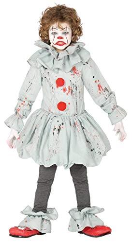 Guirca - Disfraz de Payaso Asesino Asesino - Disfraz para niños de 7 a 9 años - Color Gris y Rojo - Modelo n. 87697