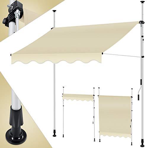 KESSER® Klemmmarkise 150cm x 180cm Beige mit Handkurbel Balkon, Balkonmarkise ohne Bohren, UV-beständig höhenverstellbar wasserabweisend,...