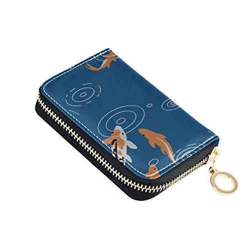 Cartera para Tarjetas de crédito para Mujeres Cute Sea Creatures Fish Blue Carp Funda para Hombre con Tarjetero Cuero de PU con Cremallera Alrededor Tamaño Compacto Tarjeta de Efectivo Cartera para m