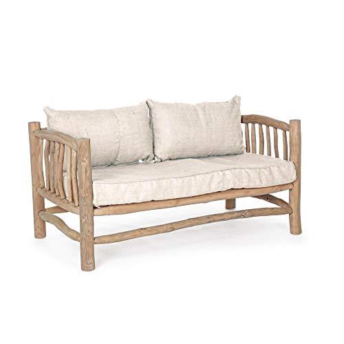 ARREDinITALY - Sofá con Cojines de Ramas de Teca Natural