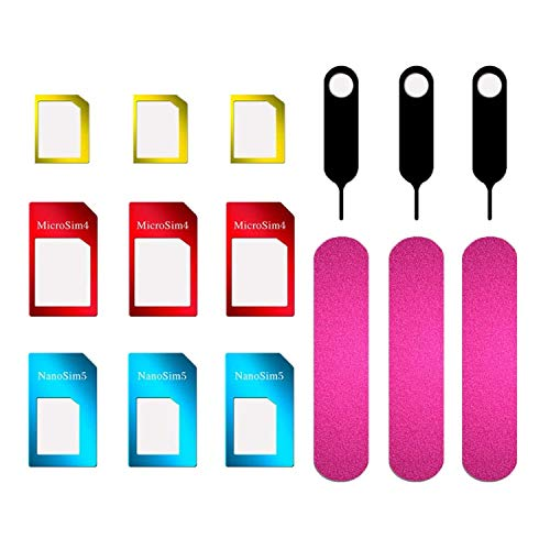 JZZJ 3 Set SIM Karte Adapter 5 in 1 Nano Mikro Standard SIM Karte Konverter Kit mit SIM Karte Ordner und Nadel
