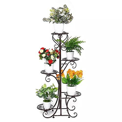 MCKEYEN 5 Layer Plant Stand, Flower Rack Pot Storage Rack, Display Shelf Holder,for for Room Balcony Indoor, Decor Garden Balcony Plant Shelves,Brown
