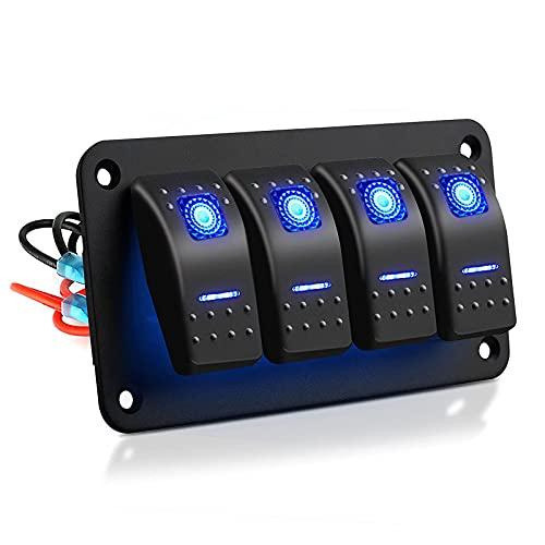 RUIZHI 4 Gang Panel de Interruptores Basculantes 5 Pines Encendido/Apagado Impermeables con Luz LED Azul Rocker Switch para Coche Barco