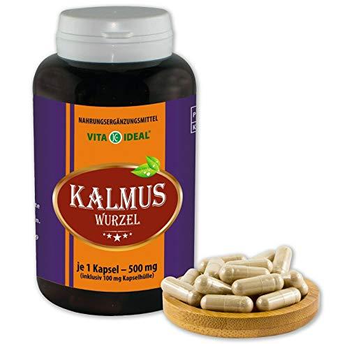 VITAIDEAL ® Kalmus-Wurzel (Acorus Calamus) 180 Kapseln je 500mg, aus rein natürlichen Kräutern, ohne Zusatzstoffe von NEZ-Diskounter