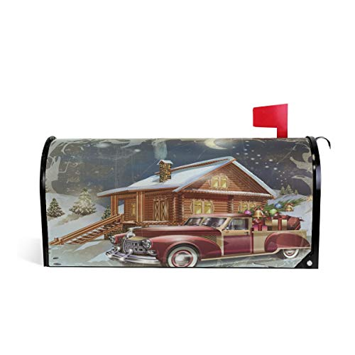 Noël Maison de Voiture Bienvenue magnétique Boîte aux Lettres Boîte aux Lettres Coque stratifiées, Winter Snow Arbre Lune Taille Standard Makover Mailwrap Garden Home Decor 52.6x45.8cm Multicolore