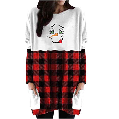 Graphic Tunics for Women Merry Christmas Tree Cute Reindeer Shirts Plaid Splicing Long Sleeve Pullover Tops Red