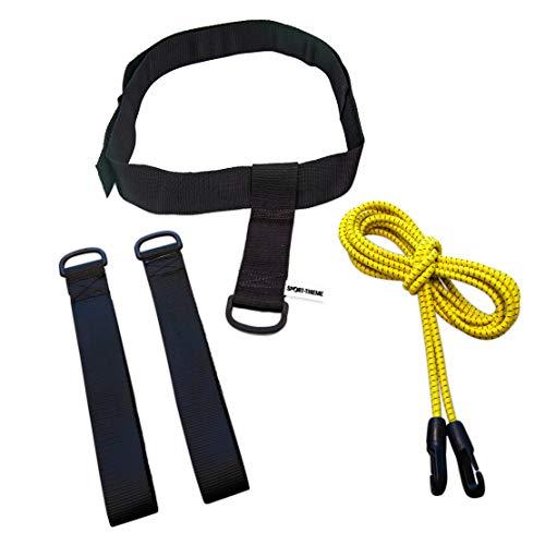 Sport-Thieme Schwimm-Zugseil mit Bauchgurt | Schwimmtrainer, Schwimmseil-Set für Trockenübungen im Schwimmtraining | In 5 Zugstärken| Gurtband-Handschlaufen, Trainingsanleitung | Markenqualität