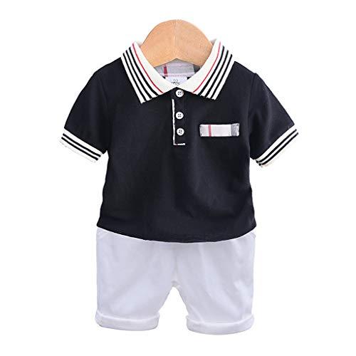 Conjuntos Bebé Niño, Ropa Recién Nacidos Bebe Niño Camiseta Mangas Cortas Enrejado Estrellas Cartas Estampado Tops y Pantalones Verano Ropa Conjunto