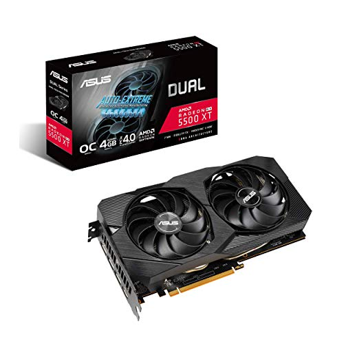 ASUS AMD Dual Radeon RX 5500 XT EVO OC Edition Gaming Graphics Card (PCIe 4.0, 4GB GDDR6 Memory, HDMI, DisplayPort, Full HD Gaming, Axial-tech Fan Design, Auto-Extreme, Metal Backplate)