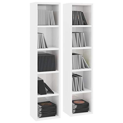 Irfora 2 pz Scaffali Porta CD, Libreria a Scomparti, Armadio per Casa e Ufficio, Armadio in Truciolato 21x16x93,5 cm
