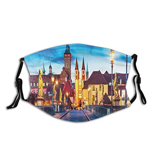 Fiber Five Protect Cover Bandana Balaclavas| Colorful Sunset Evening View of Old Main Bridge in Historical Land Bavaria Germany|for Men & Women |Reusable Washable Cover