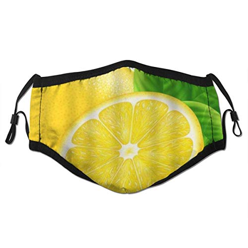 Face Cover Lemon Leaves Natural Product Farmers Market Food Fragrant Fruit Fresh Vitamin Balaclava Unisex Reusable Windproof Anti-Dust Mouth Bandanas Outdoor with 2 Filters