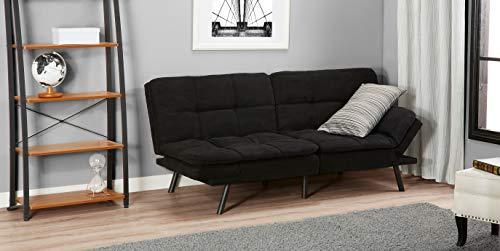 Mainstay.. Memory Foam Futon, Black Suede, Fabric, Wood, Metal + Free Clean Fabric Cloth (Black Suede)
